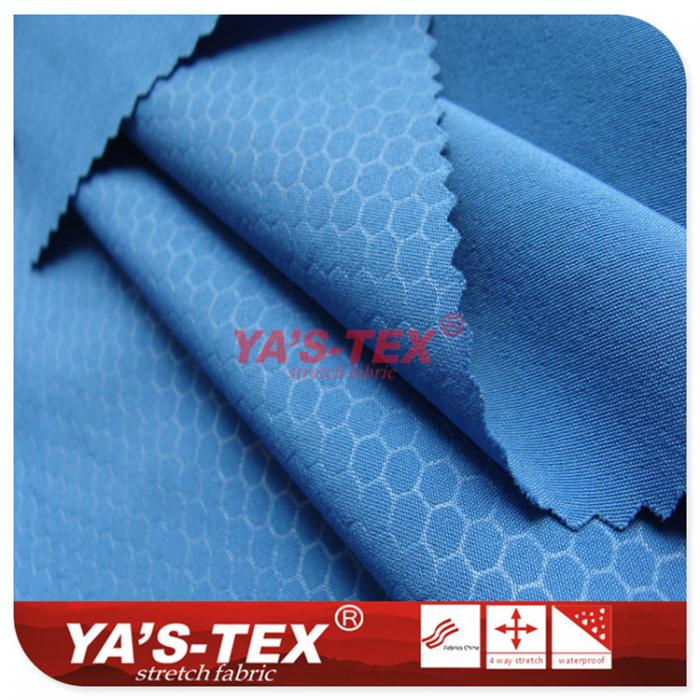 Polyester four-way stretch, hexagonal lattice embossed
