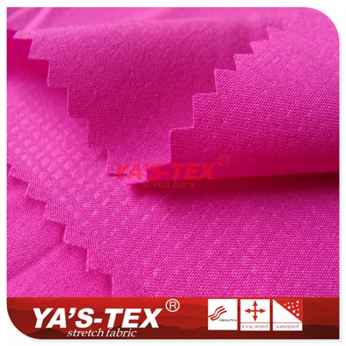 Polyester four-way stretch, spandex stretch, embossing