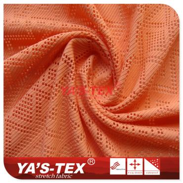 Weft knitted polyester jacquard