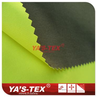 Fluorescent polyester four-way stretch composite