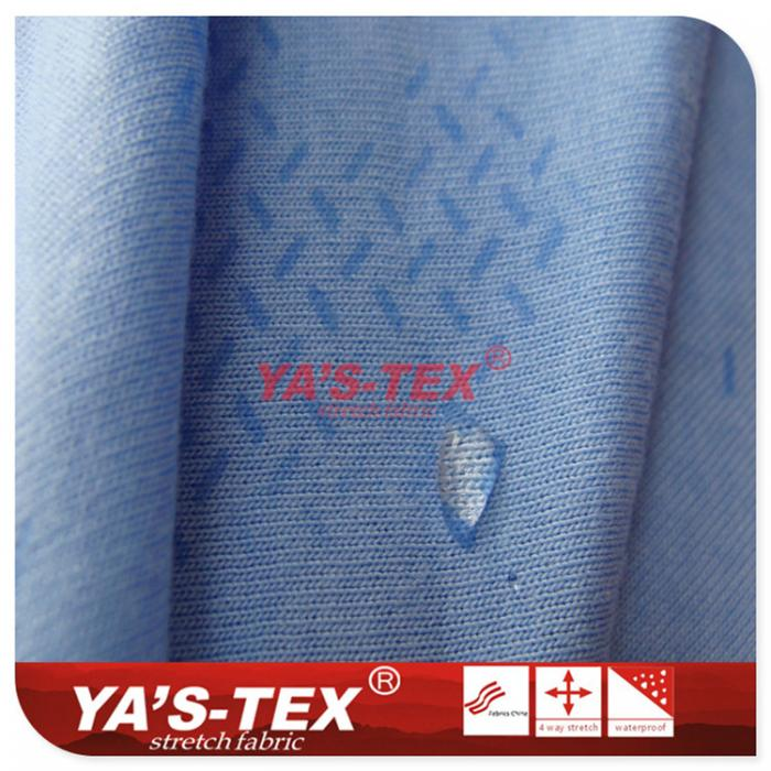 Polyester-Rayon blended four-way stretch, contact with water will change color