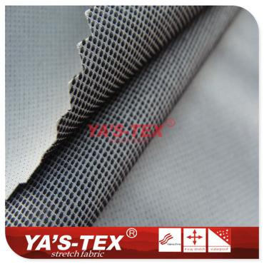 Polyester four-way stretch, lattice, two-color jacquard