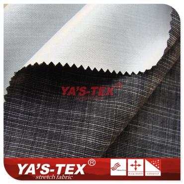 Polyester yarn-dyed, weft stretch double-layer composite TPU