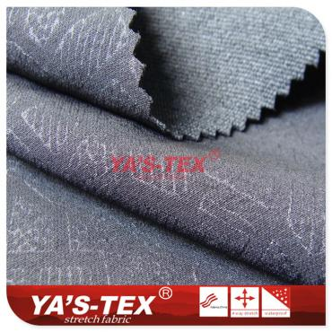 Nylon polyester blended four-way stretch, embossed jacquard