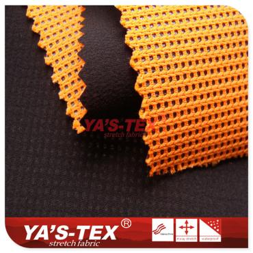 Polyester four-way elastic composite features mesh