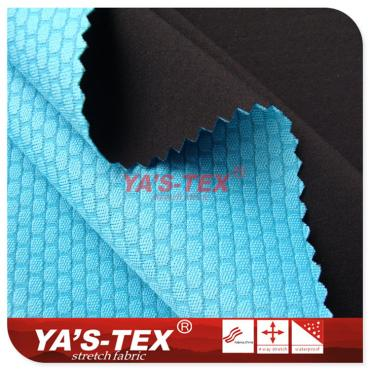 Polyester four-way stretch composite features mesh