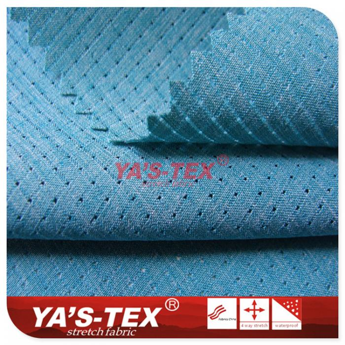 Polyester well pattern hollow four-way stretch
