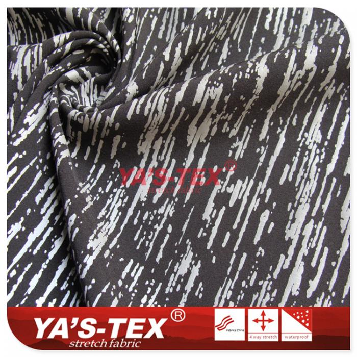 Polyester four-way stretch, reflective printing