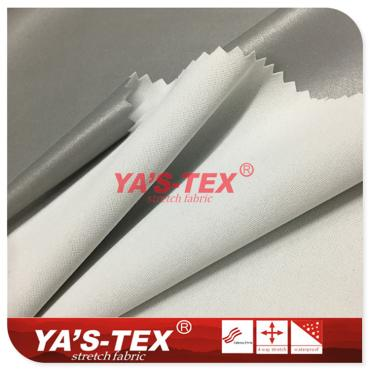 Polyester knitted four-way stretch, reflective coating fabric