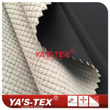 Polyester embossed lattice four-way elastic composite lattice (pumping) fleece