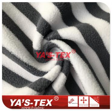 Polyester knitted fleece, viscose printing
