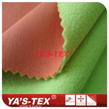 Polyester four-way stretch composite fleece, embossed, two-layer composite, winter coat fabric