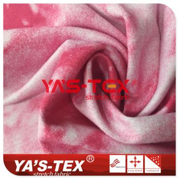 Polyester printed Jersey, tie dye style soft, yoga fabric