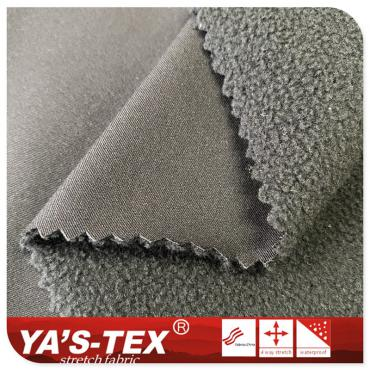 Polyester four-way stretch composite polar fleece, three-layer warm soft shell, PTFE fabric